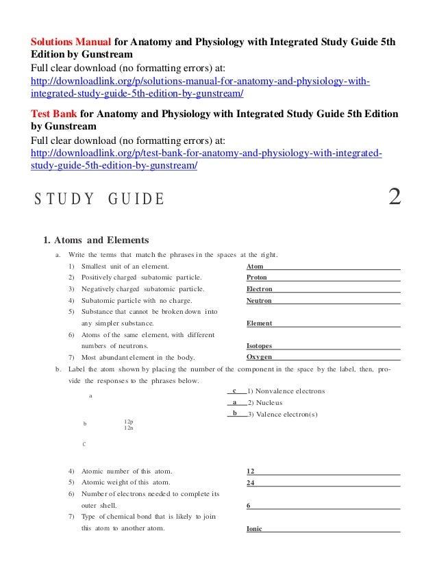 Human Anatomy Solution Manual Guide