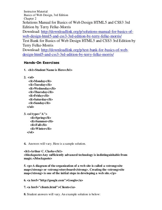 Solutions Manual For Basics Of Web Design Html5 And Css3 3rd Edition