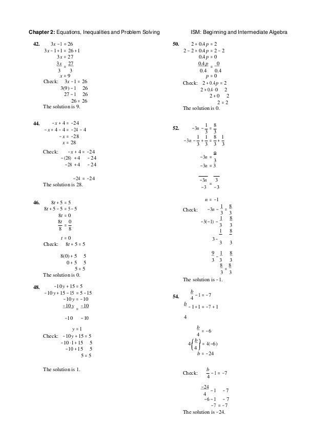 Solutions Manual for Beginning and Intermediate Algebra