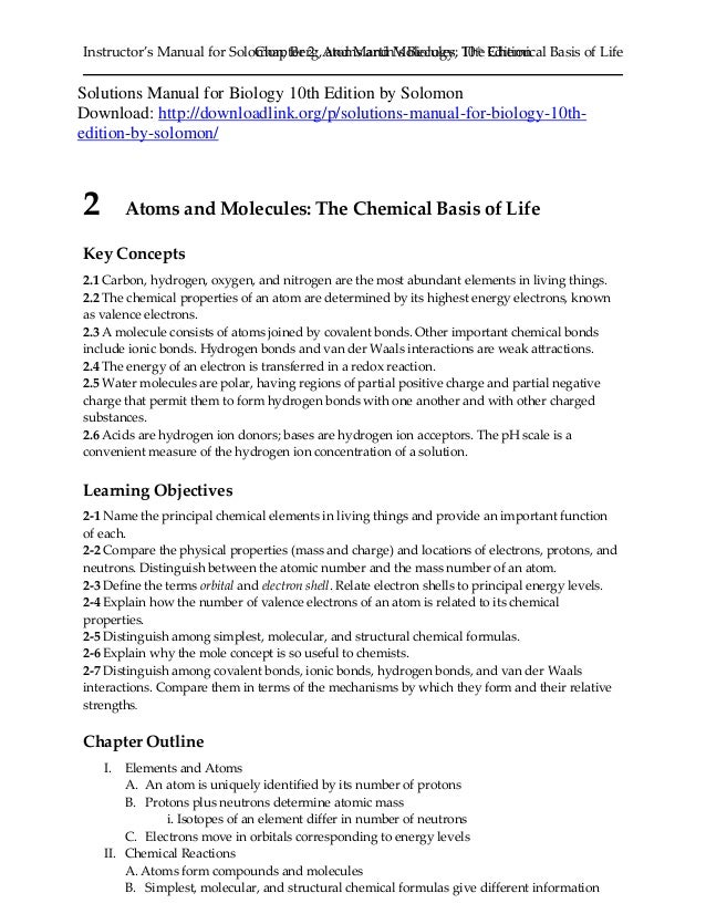 Biology 10th edition solomon solutions manual.