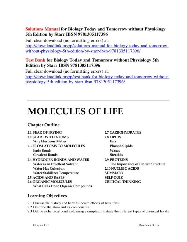 Solutions Manual For Biology Today And Tomorrow Without