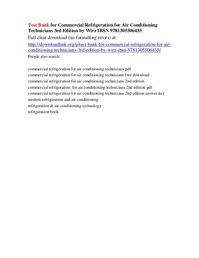 Air conditioning pdf for commercial refrigeration technicians