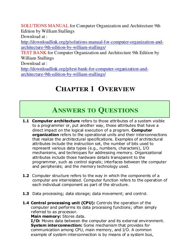 Solutions Manual For Computer Organization And Architecture 9th Editi