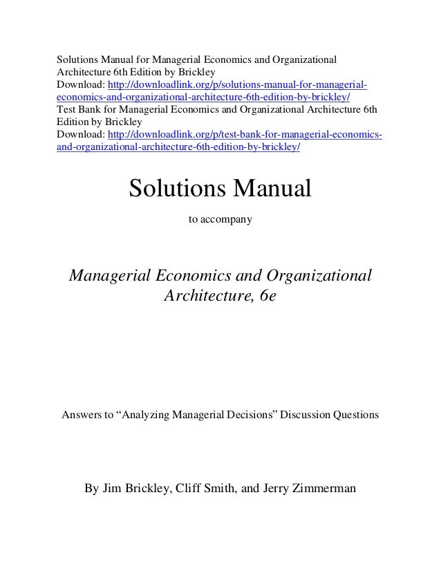 Solution manual for managerial economics 6th edition paul keat.