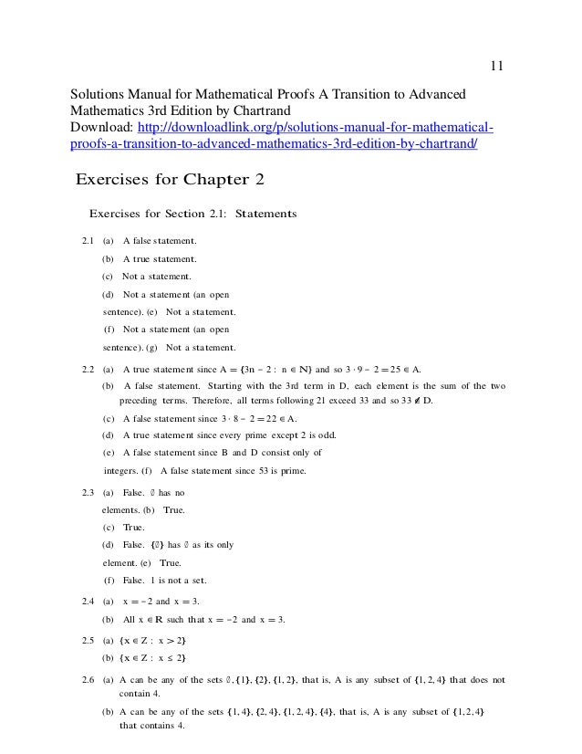 Solutions Manual For Mathematical Proofs A Transition To
