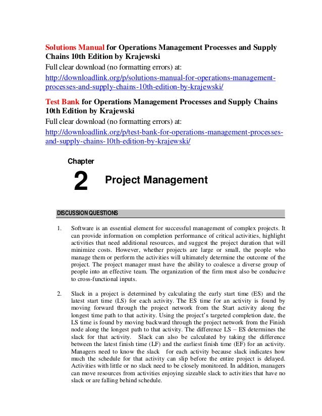 Read operations management processes and supply chains krajewski.