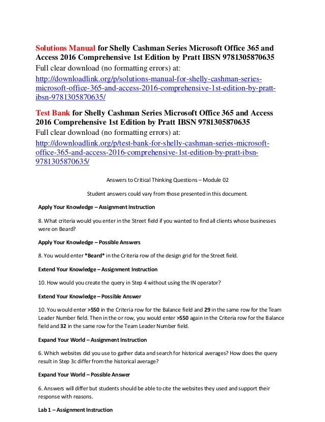 Solutions manual for shelly cashman series microsoft office