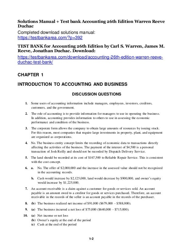 Solutions Manual Test Bank Accounting 26th Edition Warren