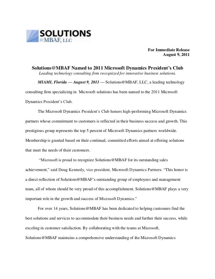 For Immediate Release <br />August 9, 2011<br />Solutions@MBAF Named to 2011 Microsoft Dynamics President's Club<br />Lead...
