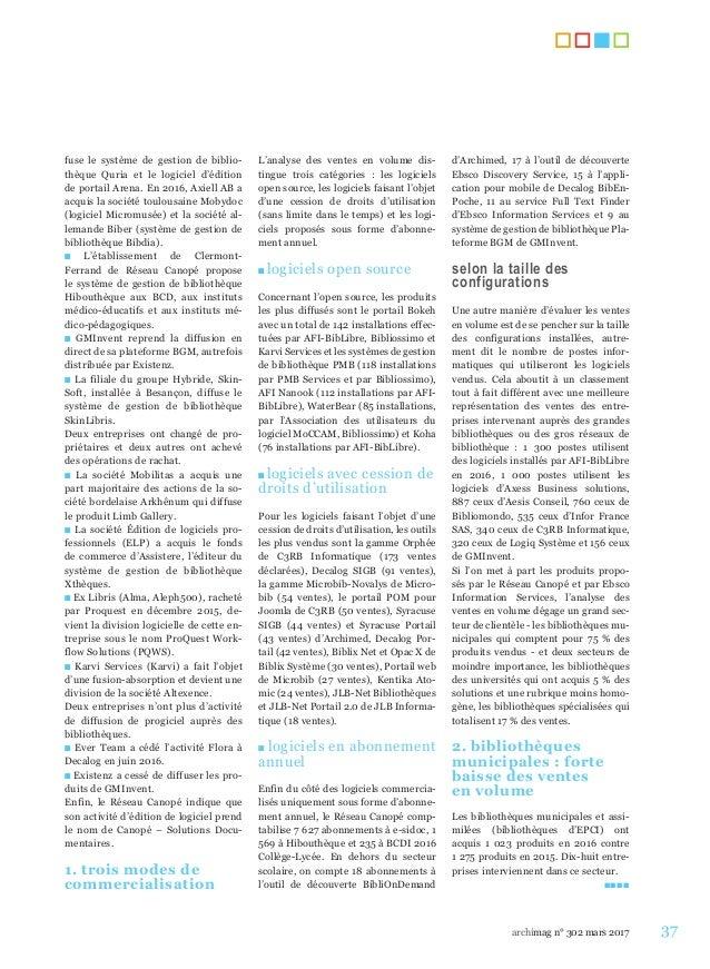 37archimag n° 302 mars 2017 fuse le système de gestion de biblio- thèque Quria et le logiciel d'édition de portail Arena. ...