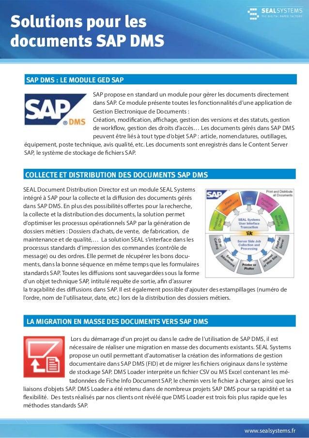 www.sealsystems.fr Lors du démarrage d'un projet ou dans le cadre de l'utilisation de SAP DMS, il est nécessaire de réalis...