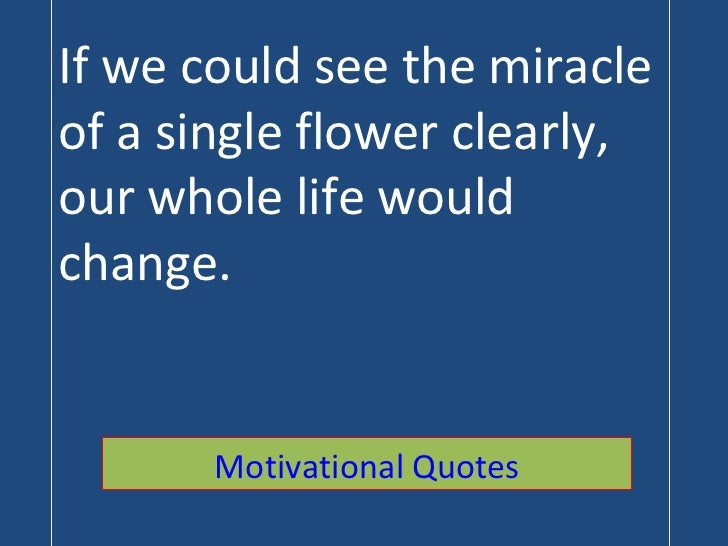 If we could see the miracle of a single flower clearly, our whole life would change. Motivational Quotes