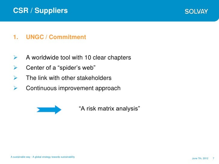 CSR / Suppliers  1.          UNGC / Commitment             A worldwide tool with 10 clear chapters             Center of...