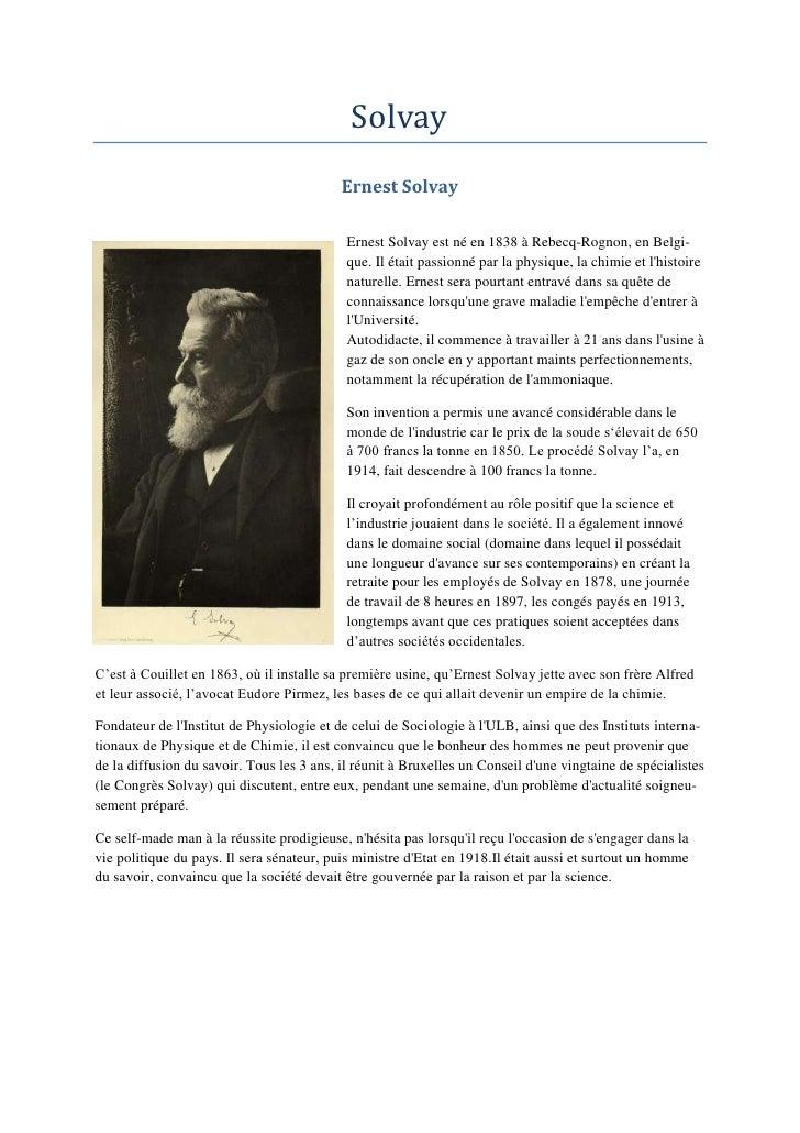 Solvay                                           Ernest Solvay                                            Ernest Solvay es...