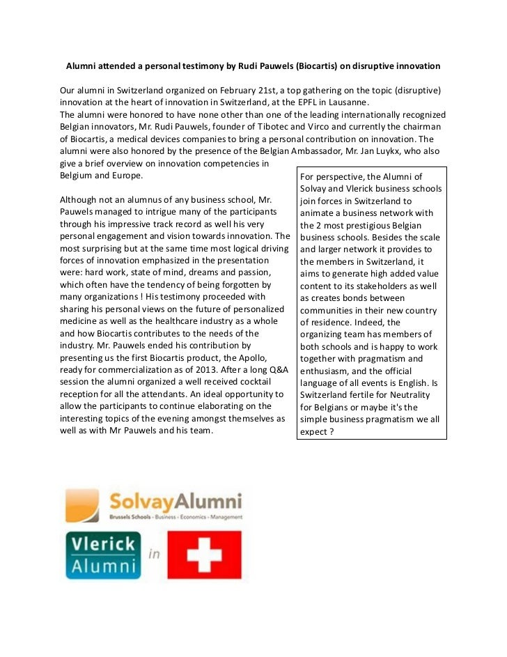 Alumni attended a personal testimony by Rudi Pauwels (Biocartis) on disruptive innovationOur alumni in Switzerland organiz...