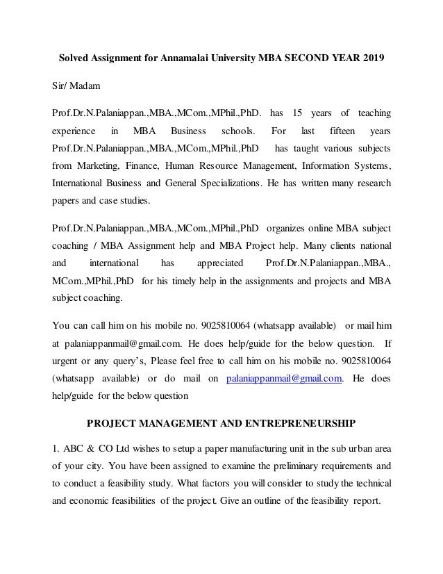 Solved Assignment for Annamalai University MBA Second