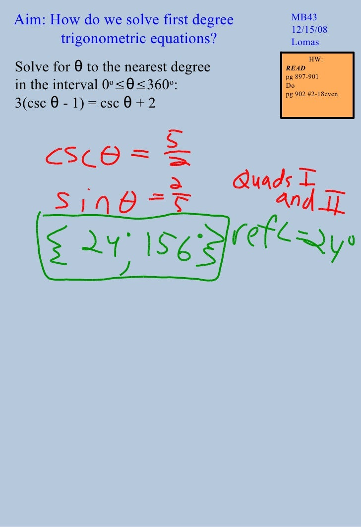 Solve First Degree Trig Equations T