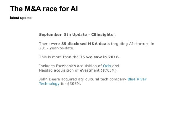 latest update The M&A race for AI September 8th Update - CBinsights : There were 85 disclosed M&A deals targeting AI start...