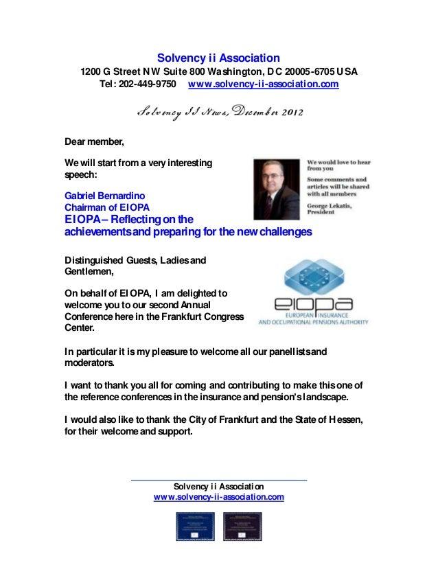 Solvency ii Association1200 G Street NW Suite 800 Washington, DC 20005-6705 USATel: 202-449-9750 www.solvency-ii-associati...