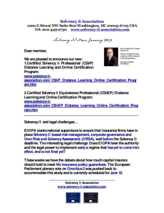 Solvency Ii News January 2013