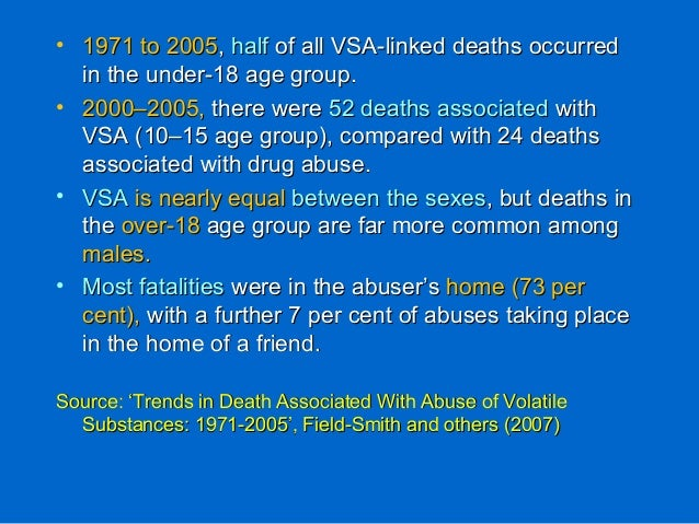 • 1971 to 20051971 to 2005,, halfhalf of all VSA-linked deaths occurredof all VSA-linked deaths occurred in the under-18 a...