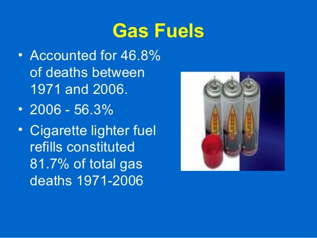 Gas Fuels • Accounted for 46.8% of deaths between 1971 and 2006. • 2006 - 56.3% • Cigarette lighter fuel refills constitut...