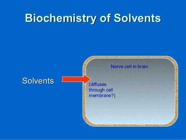 Biochemistry of SolventsBiochemistry of Solvents SolventsSolvents Nerve cell in brain (diffuses through cell membrane?)