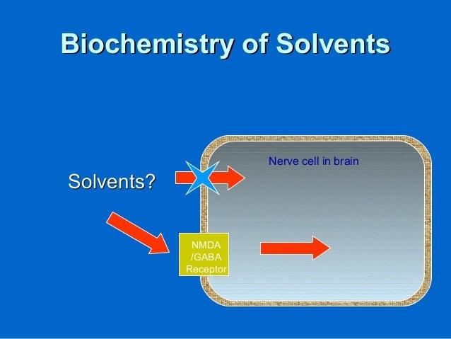 Biochemistry of SolventsBiochemistry of Solvents Solvents?Solvents? Nerve cell in brain NMDA /GABA Receptor