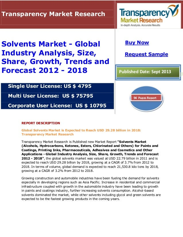 REPORT DESCRIPTION Global Solvents Market is Expected to Reach USD 29.28 billion in 2018: Transparency Market Research Tra...