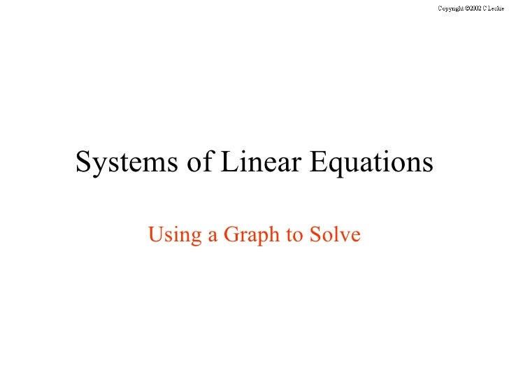 Systems of Linear Equations Using a Graph to Solve