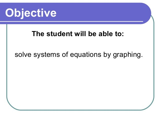 ObjectiveThe student will be able to:solve systems of equations by graphing.