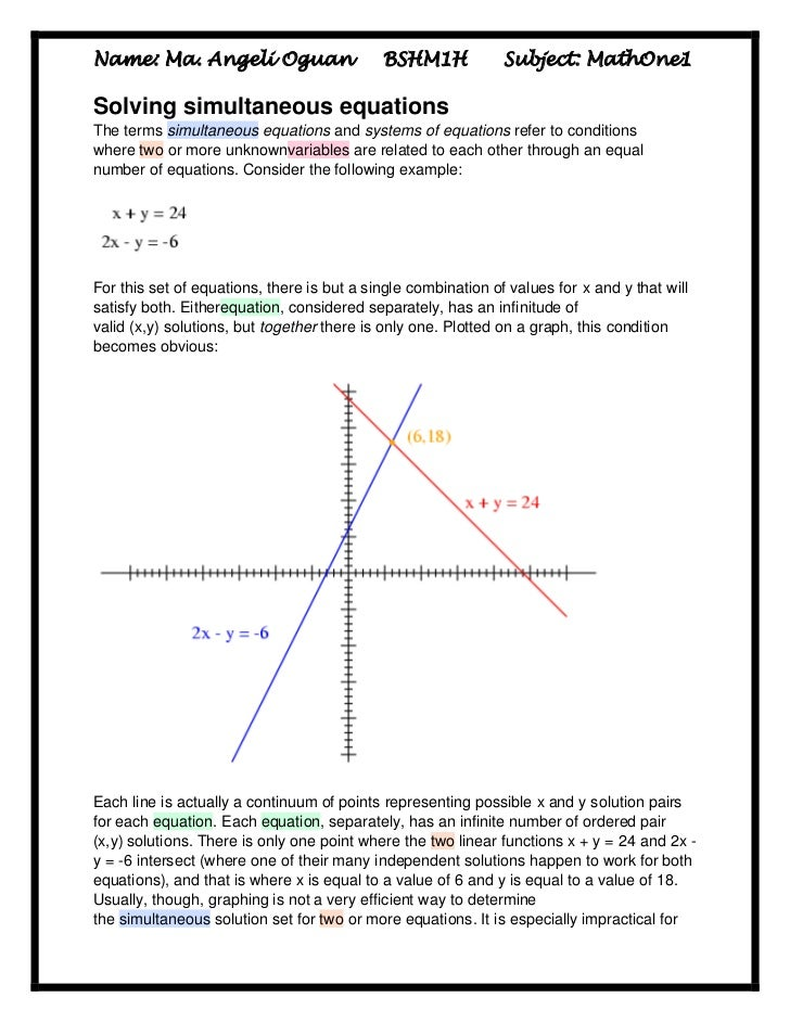 Name: Ma. Angeli Oguan                      BSHM1H             Subject: MathOne1Solving simultaneous equationsThe terms si...