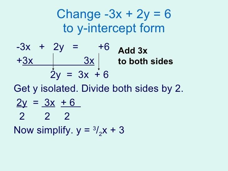 slope intercept form 3x-2y=-16  Solving Linear Equations Presentation