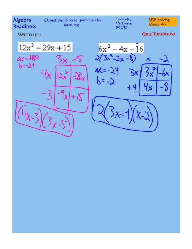 Solving Quadratics By Factoring Pdf