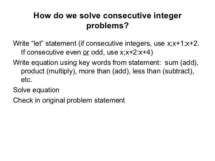 Solving Word Problems Involving Quadratic Equations – Consecutive Integer Problems Worksheet