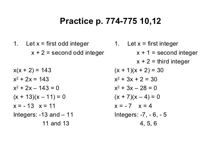 Solving Word Problems Given the Quadratic Equation - ppt download