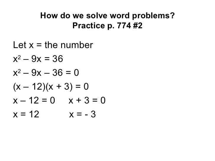 Solving Word Problems Involving Quadratic Equations