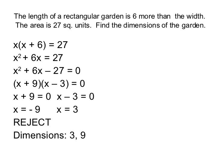 Solving Word Problems Involving Quadratic Equations – Quadratic Function Word Problems Worksheet