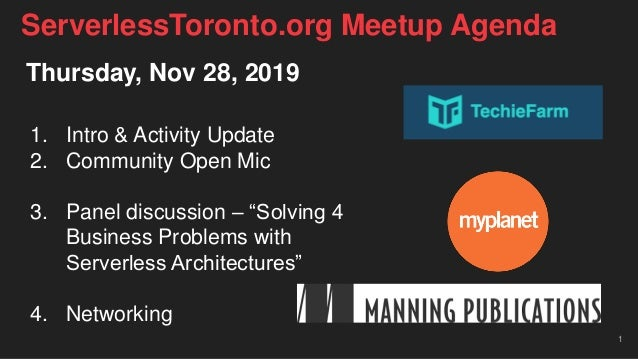 "Thursday, Nov 28, 2019 1. Intro & Activity Update 2. Community Open Mic 3. Panel discussion – ""Solving 4 Business Problems..."