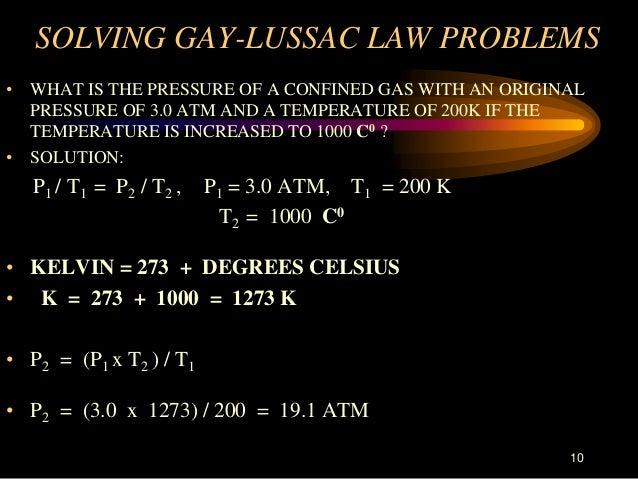 problem solving gay lussacs law