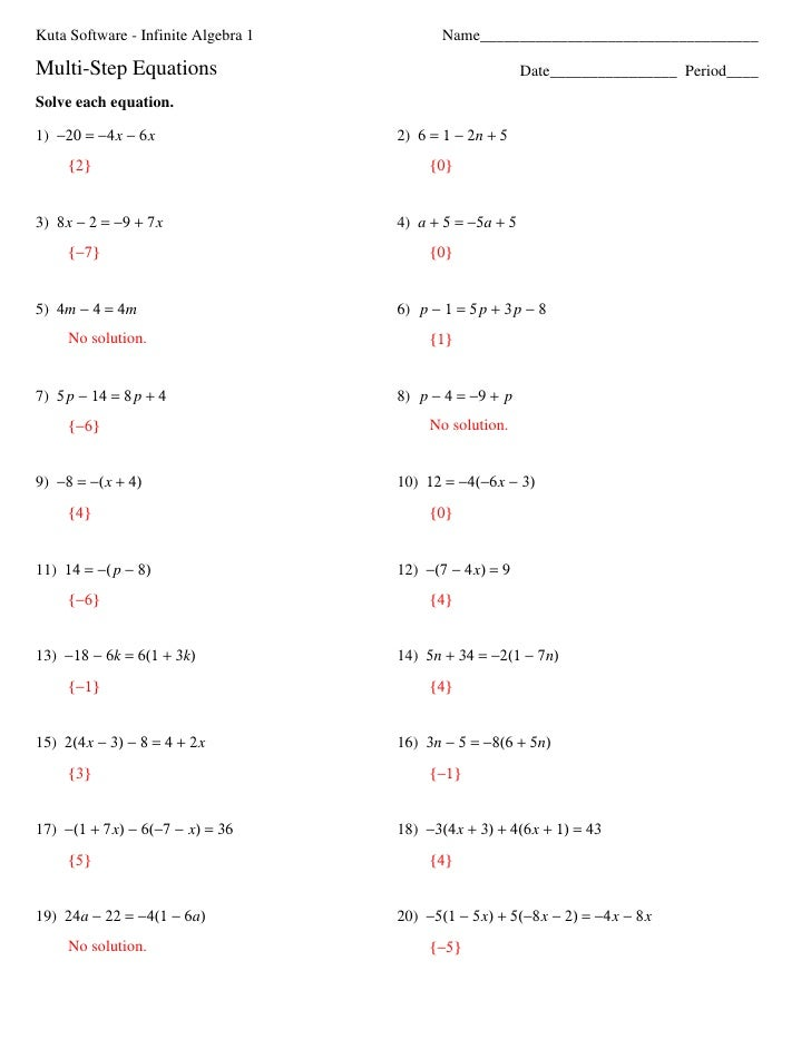 Kuta Math Worksheets 6th Grade kuta software 6th grade math – Math Worksheets Two Step Equations