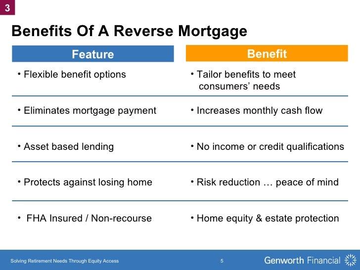Benefits Of A Reverse Mortgage <ul><li>Flexible benefit options </li></ul><ul><li>Eliminates mortgage payment </li></ul><u...