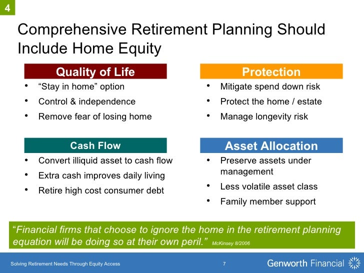 """Comprehensive Retirement Planning Should Include Home Equity Asset Allocation Quality of Life Protection """" Financial firms..."""