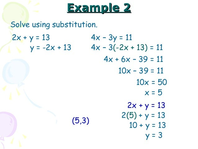 how to solve using substitution