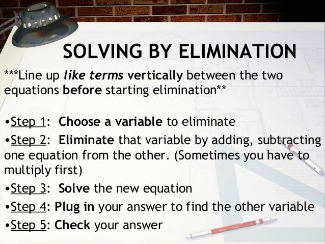 Solving Systems - Elimination NOTES