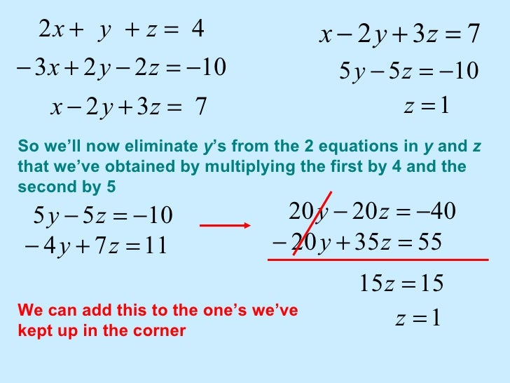 Solving systems of equations in 3 variables