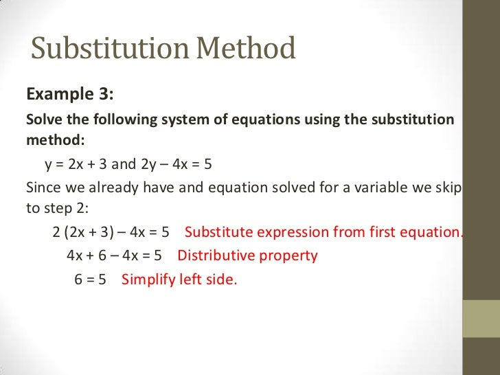 Solving Systems Of Linear Equations By Substitution