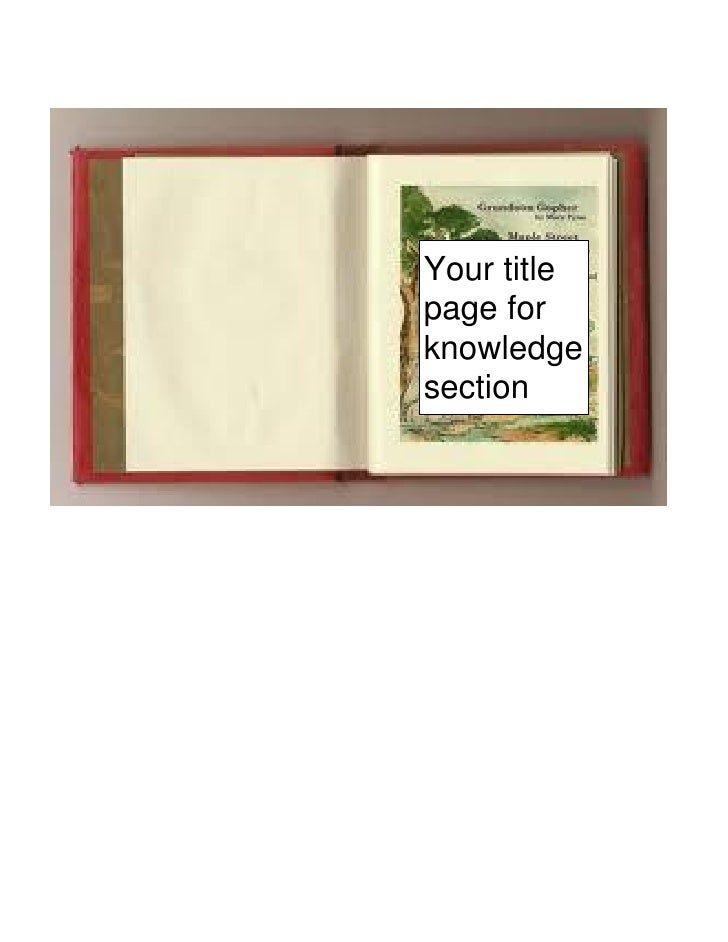 Your titlepage forknowledgesection