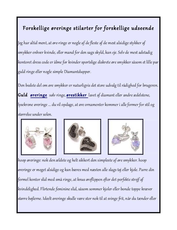 Forskellige øreringe stilarter for forskellige udseende