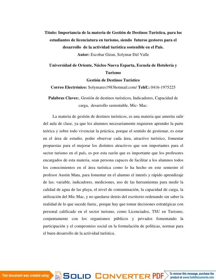 Titulo: Importancia de la materia de Gestión de Destinos Turística, para los     estudiantes de licenciatura en turismo, s...